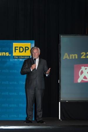 parliamentary: The famous FDP politician and parliamentary candidate Wolfgang Kubicki during an election campaign meeting of the FDP in Kiel in the Hall
