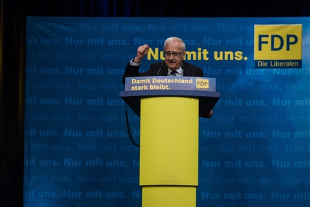 Rainer Bruederle, the leading candidate for the FDP during an election campaign meeting of the FDP in Kiel in the Hall