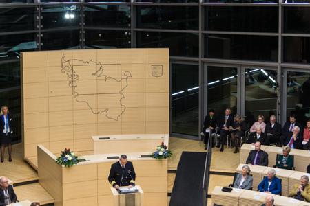 kiel fjord: Kapitän zur See Carsten Stawitzki, Kommandeur der Marineschule Mürwik, delivers a speech during the celebrations in 125 years Landeshaus - 10 years of new plenary hall of the Schleswig-Holstein Landtag