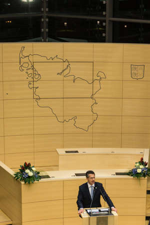 kiel fjord: Prof. Dr. Utz Schliesky, manager of the Schleswig-Holstein Landtag, delivers a speech during the celebrations in 125 years Landeshaus - 10 years of new plenary hall of the Schleswig-Holstein Landtag Editorial