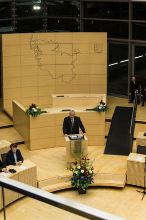 kiel fjord: Klaus Schlie, president of the Schleswig-Holstein Landtag, delivers a speech during the celebrations in 125 years Landeshaus - 10 years of new plenary hall of the Schleswig-Holstein Landtag Editorial