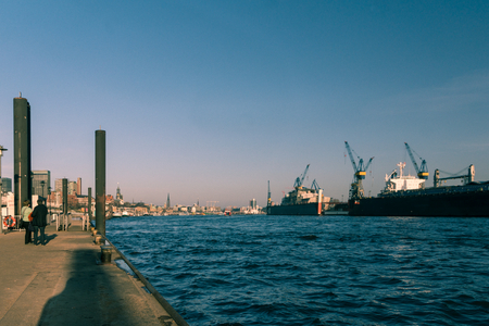 The Container terminal and shipyard in Hamburg photo