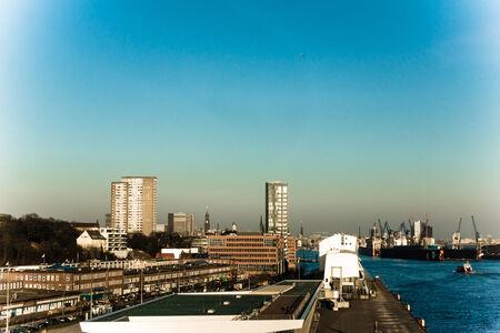 st pauli: The Skyline of the Hamburg City showing Fischmarkt, St  Pauli and Elbhilarmonie
