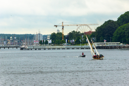 kiel fjord: A Regatta escort tour on a navy ship on the occasion of a sailing regatta for the Kieler Woche 2013 Editorial