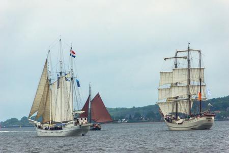 kiel fjord: A Regatta escort tour on a navy ship on the occasion of a sailing regatta for the Kieler Woche 2013 Editorial