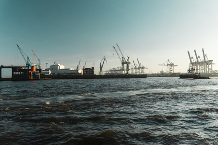 The Container terminal and shipyard in Hamburg