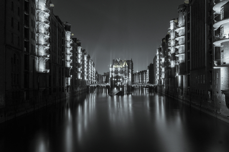 The Water Castle Hamburg at night photo
