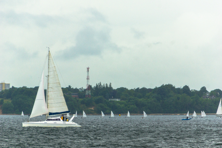 escort: A Regatta escort tour on a navy ship on the occasion of a sailing regatta for the Kieler Woche 2013 Editorial