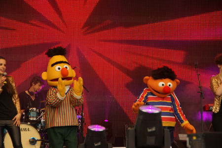 Ernie and Bert from the Sesamstreet are dancing to Happy on the NDR Stage during the Kieler Woche 2014