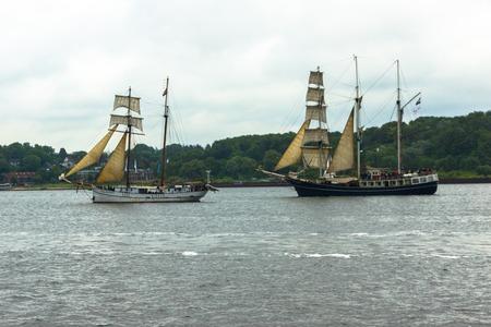 kiel fjord: A Regatta escort tour on a navy ship on the occasion of a sailing regatta for the Kieler Woche 2013 Stock Photo
