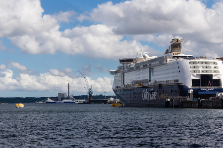 Kiel, Germany. 03rd Sep, 2014. Tests of the lifeboats and sea rescue exercises by Color Line Cruises on the Kiel Fjord