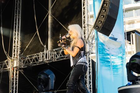 headbang: Kiel, Germany. 5th June, 2015. The musicians Skyline feat. Doro are performing at the christening of the TUI Ship Mein Schiff 4 and Metalhead are head-banging © Björn DeutschmannAlamy Live News Editorial