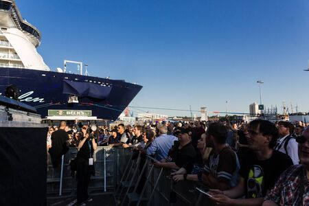 headbang: Kiel, Germany. 5th June, 2015. The musicians Skyline feat. Doro are performing at the christening of the TUI Ship Mein Schiff 4 and Metalhead are head-banging © Björn DeutschmannAlamy Live News
