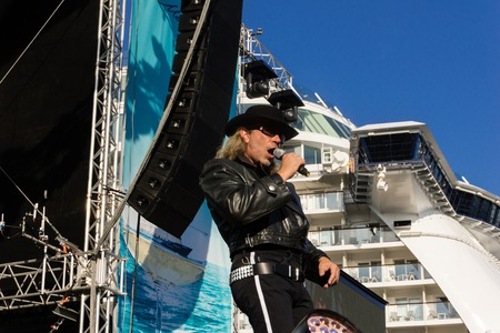 tribute: Kiel, Germany. 5th June, 2015. The band Die Panikexperten - Tribute to Udo Lindenberg is performing at the christening of the TUI Ship Mein Schiff 4