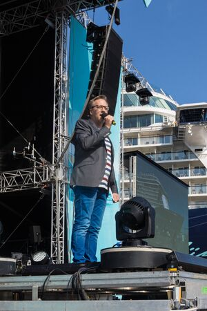announcing: Kiel, Germany. 5th June, 2015. Jan Malte Andresen is announcing thru the christening of the TUI Ship Mein Schiff 4