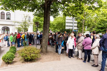 woche: Kiel, Germany - June 19th 2016: Kiels  longest strawberry pie the Kieler Woche 2016