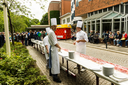 kiel: Kiel, Germany - June 19th 2016: Kiels  longest strawberry pie the Kieler Woche 2016