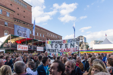 woche: Kiel, Germany - June 18nd 2016: Impressions of the first Day of the Kieler Woche 2016 with the Grand Opening by the German vice-chancellor Sigmar Gabriel and a Demonstration