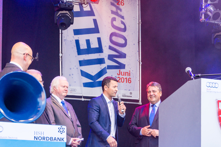 gabriel: Kiel, Germany - June 18nd 2016: Impressions of the first Day of the Kieler Woche 2016 with the Grand Opening by the German vice-chancellor Sigmar Gabriel and a Demonstration