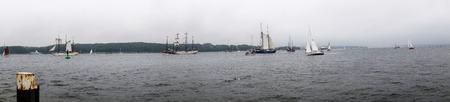 kiel: Kiel, Germany - June 25th 2016:. Impressions of the Tall Ship Parade during the Kiel Week 2016 Editorial