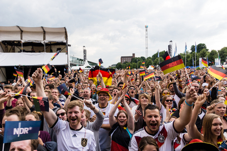 Kiel, Germany - June 26th 2016: Public Viewing of the Football Match Germany - Slovakia / Fans celebrate a Goal during the Kieler Week 2016 報道画像