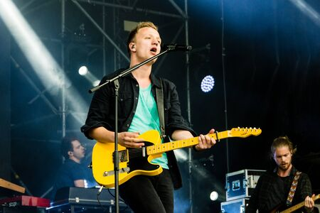 rn: Kiel, Germany - June 19th 2016: The singersongwriter Joris  performs with his band on the Hörn stage during the Kieler Woche 2016 Editorial