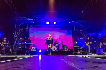 german ocean: Kiel, Germany - June 25th 2016: The Band Stanfour performs on the Hoern Stage during the Kieler Woche 2016