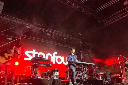 woche: Kiel, Germany - June 25th 2016: The Band Stanfour performs on the Hoern Stage during the Kieler Woche 2016
