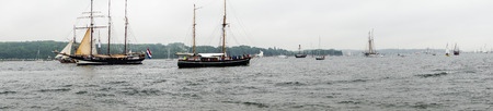 tall ship: Kiel, Germany - June 25th 2016:. Impressions of the Tall Ship Parade during the Kiel Week 2016 Editorial