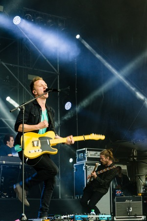 sea fans: Kiel, Germany - June 19th 2016: The singersongwriter Joris  performs with his band on the Hörn stage during the Kieler Woche 2016