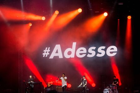 german ocean: Kiel, Germany - June 24th 2016: The musican Adesse  performs with his band on the Hörn stage during the Kieler Woche 2016 Editorial