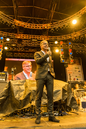 kiel: Kiel, Germany - June 24th 2016: Classic-Open-Air-Concert Soul meets Classic with Max Mutzke, Alexandra Korolliuk, Philharmonic Orchestra Kiel  and GMD  Georg Fritzsch during the Kieler Woche 2016