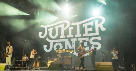 kiel: Kiel, Germany - June 24th 2016: The Band Jupiter Jones plays during the Kieler Week 2016