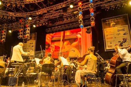german ocean: Kiel, Germany - June 24th 2016: Classic-Open-Air-Concert Soul meets Classic with Max Mutzke, Alexandra Korolliuk, Philharmonic Orchestra Kiel  and GMD  Georg Fritzsch during the Kieler Woche 2016