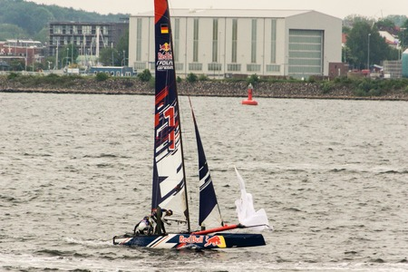 Kiel, Germany - May 29th 2016: Impressions from the finale races with sailing maneuvers and capsizing catamarans