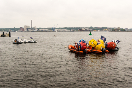 Kiel, Germany - May 29th 2016: Preparings for the start of the semi-final of the Red Bull Foiling Generation