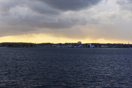 Sunset over the Kiel fjord after a storm