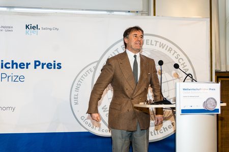 former: KIEL, GERMANY - June 18 2017: The Awarding of the Global Economy Prize 2017 from the Kiel Institut for the World Economy during the Kieler Woche 2017 Editorial