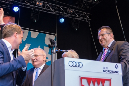 Kiel, Germany - June 17nd 2017: Impressions of the first Day of the Kieler Woche 2017 with the Grand Opening by famous German TV Host Kai Pflaume