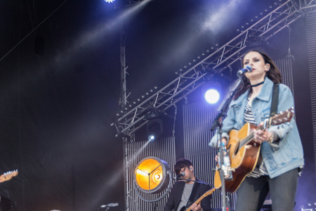 KIEL, GERMANY - June 16 2017: The singersongwriter Amy Mcdonald is performing on the Hörn Bühne at the Soundcheck Friday during the Kieler Woche 2017