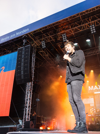 KIEL, GERMANY - June 16 2017: The singersongwriter Max Giesinger is performing on the NDR Bühne at the Soundcheck Friday during the Kieler Woche 2017