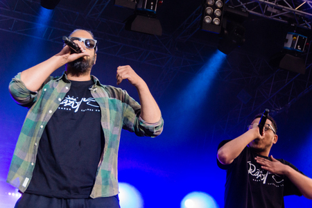 rapping: Kiel, Germany - June 19th 2017: The Rapper Samy Deluxe is performing on the Hörn stage during the Kieler Woche 2017