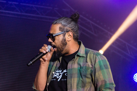 Kiel, Germany - June 19th 2017: The Rapper Samy Deluxe is performing on the Hörn stage during the Kieler Woche 2017