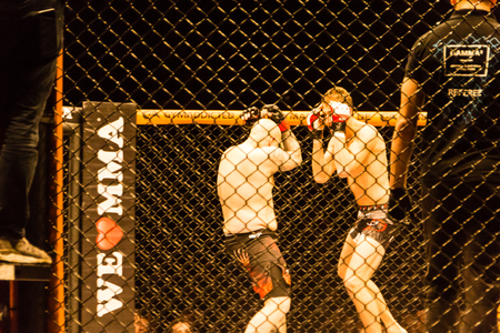 Hamburg, Germany - Nov 18th, 2017: The fight between Roland Krifft and  Tino Müller during We Love MMA 34