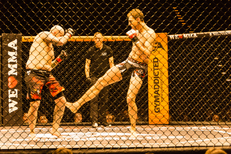 Hamburg, Germany - Nov 18th, 2017: The fight between Roland Krifft and  Tino M�ller during We Love MMA 34
