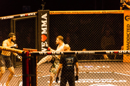 Hamburg, Germany - Nov 18th, 2017: The seventh fight during We Love MMA 34  Editorial