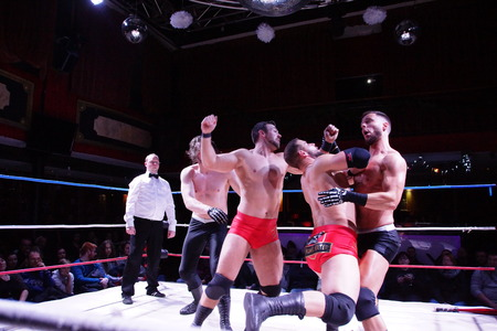 Kiel, Germany - December 08, 2018. The Purge Match (TLC) between Muskelkater and Purge Club for the Maximum Tag Team Titles