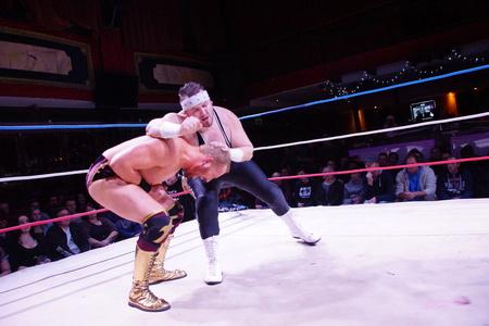 Kiel, Germany - December 08, 2018. American Wrestler Alexander James (w Lukas Robinson) vs. Tim Karstens (w Fynn Freyhardt & Briggs)