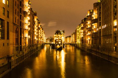Moated Castle, Speicherstadt Hamburg, Germany at Night
