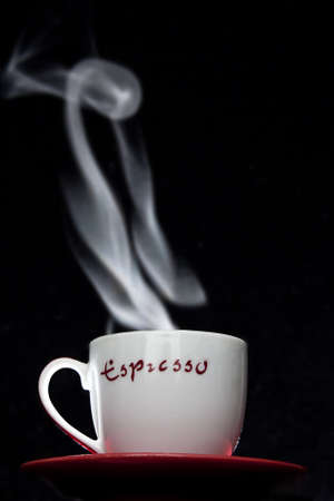 Steaming cup of coffee Stock Photo